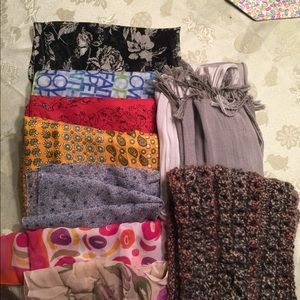 Accessories - Lot of 9 scarves. Various lengths, sizes.